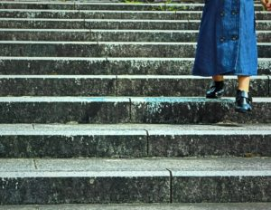 girl down the stairs