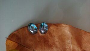 葉っぱとガラスのイヤリング